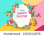 easter card with paper cut egg... | Shutterstock .eps vector #1313212070
