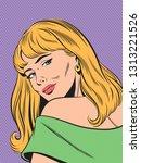 vector pop art woman with long... | Shutterstock .eps vector #1313221526