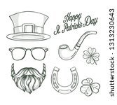 sketch set for saint patricks... | Shutterstock .eps vector #1313230643