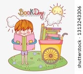 boy read education book and cart | Shutterstock .eps vector #1313243306