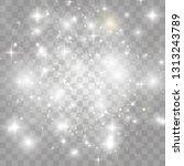 white sparks and golden stars... | Shutterstock .eps vector #1313243789