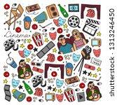 cartoon cute hand drawn cinema. ... | Shutterstock . vector #1313246450