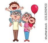 grandparents and grandchildren   Shutterstock .eps vector #1313250923