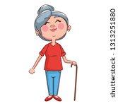 grandmother elder person cane   Shutterstock .eps vector #1313251880