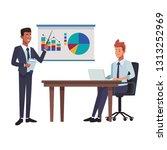 business presentation teamwork | Shutterstock .eps vector #1313252969