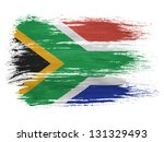 South African Flag On White...