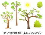 isolated cartoon trees. cartoon ... | Shutterstock .eps vector #1313301980