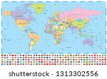 world map and flags   borders ... | Shutterstock .eps vector #1313302556