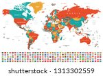 world map and flags   borders ... | Shutterstock .eps vector #1313302559