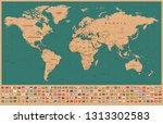 world map and flags   borders ... | Shutterstock .eps vector #1313302583