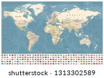 world map and flags   borders ... | Shutterstock .eps vector #1313302589
