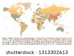 world map and flags   borders ... | Shutterstock .eps vector #1313302613