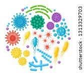 set of bacteria  microbes ...   Shutterstock .eps vector #1313329703