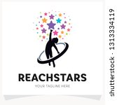 children reach stars logo... | Shutterstock .eps vector #1313334119
