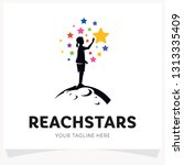 children reach stars logo... | Shutterstock .eps vector #1313335409