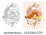 beautiful dreamy princess with... | Shutterstock .eps vector #1313361170