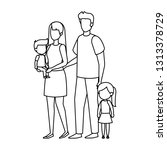 parents couple with daughter... | Shutterstock .eps vector #1313378729