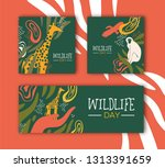 happy wildlife day illustration ... | Shutterstock .eps vector #1313391659