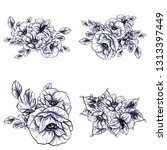 flowers set. collection of... | Shutterstock . vector #1313397449