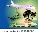 island with airplane and surfers | Shutterstock .eps vector #131340080