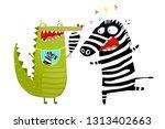 fun crocodile eating zebra... | Shutterstock .eps vector #1313402663