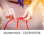 scout knot learning in forest... | Shutterstock . vector #1313414156