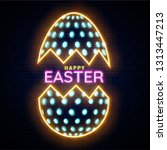 neon effect easter egg on brick ... | Shutterstock .eps vector #1313447213