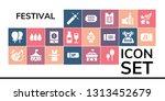 festival icon set. 19 filled... | Shutterstock .eps vector #1313452679
