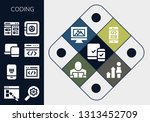 coding icon set. 13 filled... | Shutterstock .eps vector #1313452709