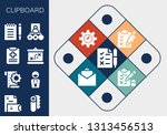 clipboard icon set. 13 filled... | Shutterstock .eps vector #1313456513