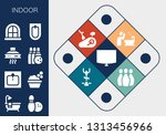indoor icon set. 13 filled... | Shutterstock .eps vector #1313456966
