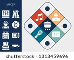 mixer icon set. 13 filled mixer ... | Shutterstock .eps vector #1313459696
