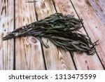 eucalyptus bath broom ... | Shutterstock . vector #1313475599