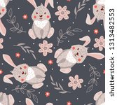 seamless pattern with cute... | Shutterstock .eps vector #1313482553