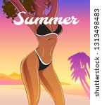 summer poster with pretty... | Shutterstock .eps vector #1313498483