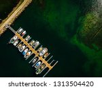 aerial top down view. marina... | Shutterstock . vector #1313504420