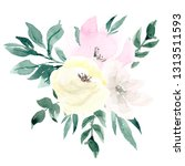 watercolor bouquet with... | Shutterstock . vector #1313511593