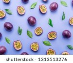 Passion Fruit Background. Set...