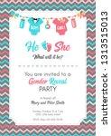 gender reveal invitation... | Shutterstock .eps vector #1313515013