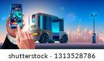 autonomous driverless shuttle... | Shutterstock .eps vector #1313528786