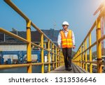 engineering wearing pair of... | Shutterstock . vector #1313536646