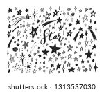 vector doodle set of stars.... | Shutterstock .eps vector #1313537030