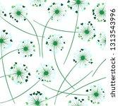 dandelion blowing plant vector... | Shutterstock .eps vector #1313543996
