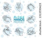 how to wash your hands...   Shutterstock .eps vector #1313550623