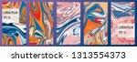 liquid colors covers set 16x9.... | Shutterstock .eps vector #1313554373