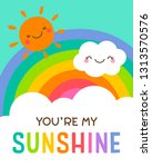 cute cloud  sun and rainbow... | Shutterstock .eps vector #1313570576