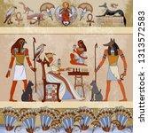 murals ancient egypt scene... | Shutterstock .eps vector #1313572583