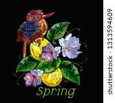 bird and flowers. spring slogan.... | Shutterstock .eps vector #1313594609