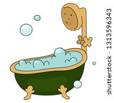 retro bathtub with foam and...   Shutterstock .eps vector #1313596343