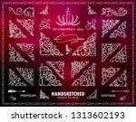 vector set of valentine s and... | Shutterstock .eps vector #1313602193